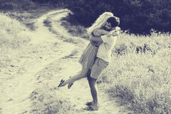Couple in love together in summer time. Black and white Stock Image