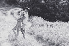 Couple in love together in summer time. Black and white Royalty Free Stock Photos