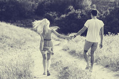 Couple in love together in summer time. Black and white Stock Photo