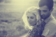 Couple in love together in summer time. Black and white Stock Images