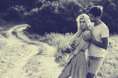 Couple in love together in summer time. Black and white Stock Photography