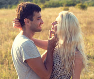 Couple in love together in summer time Royalty Free Stock Images