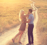 Couple in love together in summer time Royalty Free Stock Photo