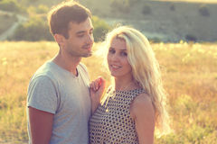 Couple in love together in summer time Royalty Free Stock Image
