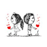 Couple in love together, valentine sketch for your Royalty Free Stock Photo