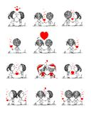 Couple in love together, valentine sketch for your. Design, vector illustration Stock Photo