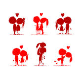 Couple in love together, valentine sketch Royalty Free Stock Photos