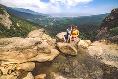 Couple in love travel photo in mountains. royalty free stock photos