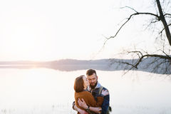 Couple in love, traveling with a map Royalty Free Stock Photography