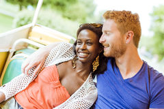 Couple in love traveling by a scenic railway Stock Photography