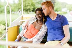 Couple in love traveling by a scenic railway Royalty Free Stock Photos