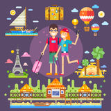 Couple in love, travels the world. Pleasant romantic trip to the best attractions, memories of youth. Vector flat illustration Royalty Free Stock Photo