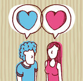 Couple in love / Two hearts. Couple in love with Two hearts together Royalty Free Stock Images