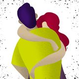 Couple in love. Two hugging lovers. Romantic concept. royalty free illustration