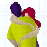 Couple in love. Two hugging lovers. Romantic concept. vector illustration