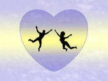 Couple in Love. Twosome on cloud nine, symbol for a romantic love affair Stock Images
