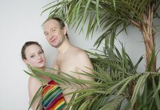 Couple in love under the palm. Young couple under a palm tree in the Studio Royalty Free Stock Photography