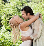 Couple in love under rain Stock Photography