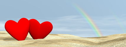 Couple love under rainbow - 3D render Royalty Free Stock Photo