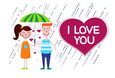 Couple Love Under Umbrella Heart Shape Stock Photo