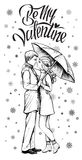 Couple in love under umbrella in winter time. Hand drawn illustration. Royalty Free Stock Photos