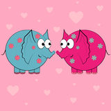 Couple in love valentine card.cartoon animals Stock Photography