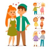 Couple in love vector characters togetherness happy smiling people romantic woman amorousness together adult. Relationship. Female lifestyle beautiful happiness Stock Images
