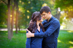 Couple in love walk near the riverr, smiling. Valentine's Day Stock Images
