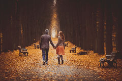 Couple in love walking on a beautiful autumn alley in the park. Couple walking on a beautiful autumn alley in the park royalty free stock photos
