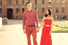 Couple in love walking in city Royalty Free Stock Photography