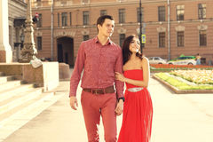 Couple in love walking in city Stock Image
