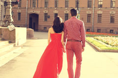 Couple in love walking in city Royalty Free Stock Photo