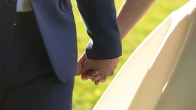 Couple in love walking at the field stock video