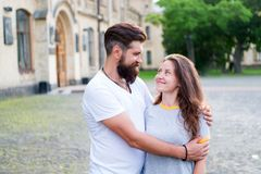 Couple in love walking having fun. Couple relaxing enjoying each other. Man bearded hipster and pretty woman in love. Couple in love walking having fun. Couple royalty free stock photos
