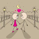 Couple love walking light of lanterns in park Royalty Free Stock Images