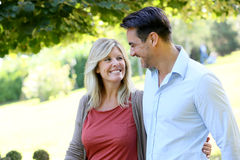 Couple in love walking in park Royalty Free Stock Photography