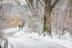 Couple in love walking by the river in the snow Stock Photos