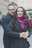 Couple in love walking in Rome Royalty Free Stock Photos
