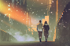 Couple in love walking on street of city. Illustration painting Stock Photo