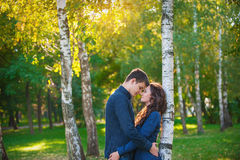 Couple in love walking in the summer park Royalty Free Stock Photo