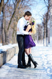 Couple in love walking in the winter park Royalty Free Stock Image