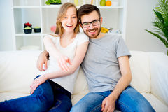 Couple in love watching TV Royalty Free Stock Photo
