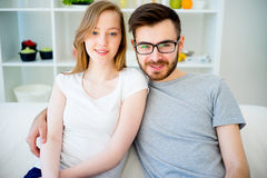 Couple in love watching TV Stock Images