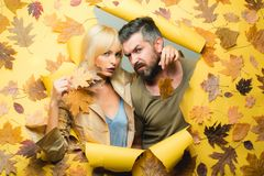 Couple in Love wearing in fashionable seasonal clothes having Autumnal mood. Autumn couple in autumn clothes and looks. Very sensually. Bearded men and pretty royalty free stock images