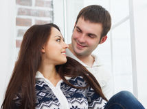 Couple in love wearing winter clothes Royalty Free Stock Photo