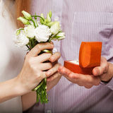 Couple in love  with wedding ring and gift box Royalty Free Stock Photos