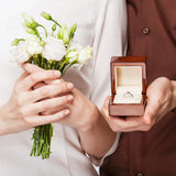 Couple in love  with wedding ring and gift box Stock Image