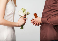 Couple in love  with wedding ring and gift box Stock Photography