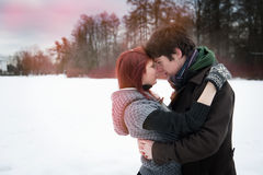 Couple in love in winter Stock Photo