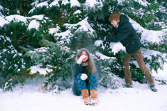 The couple in love in winter. Couple in love in winter Royalty Free Stock Photo